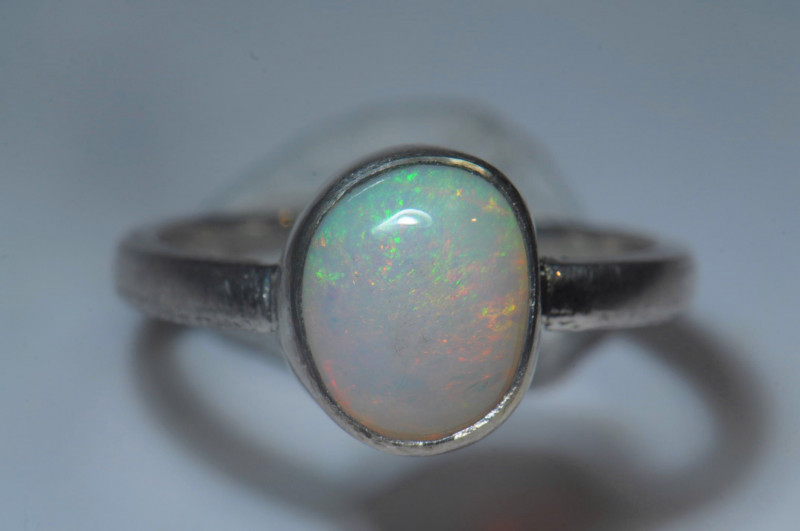 7sz Sterling Silver Blazing Welo Solid Opal Ring
