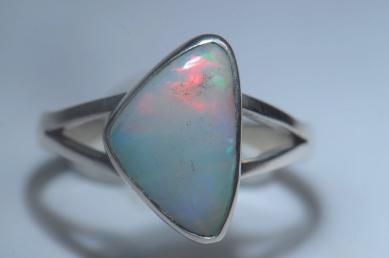 6.5sz Sterling .925 Silver Blazing Welo Solid Opal Ring