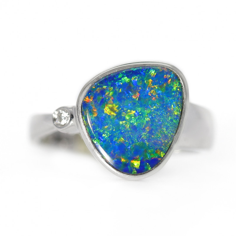925 ST/ SILVER RHODIUM PLATED DOUBLET OPAL RING [CR41]