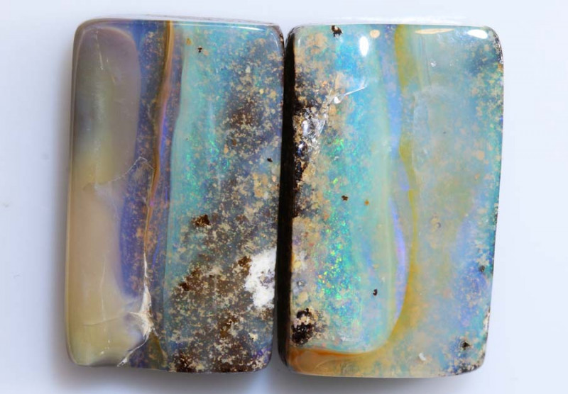 36.65 -CTS  BOULDER OPAL POLISHED  PAIR   NC-6442