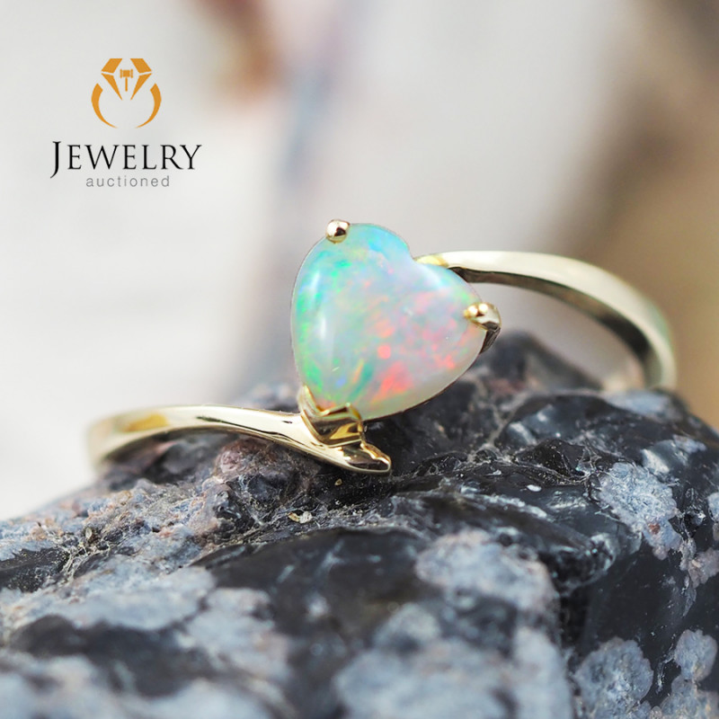 Gem Quality Heart 14K Yellow Gold Opal Ring - OPJ 2430