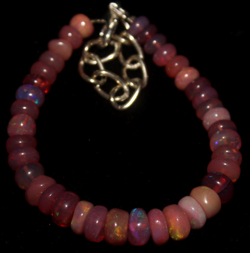 34 Crts Natural Welo Smoked Opal Beads Bracelet 869
