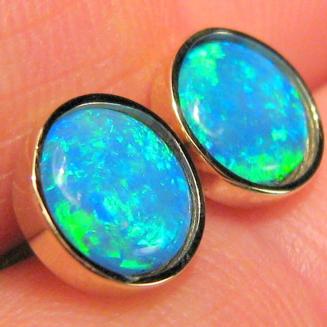 Australian Solid Opal Stud Earrings Jewelry Gem Gift Idea 14kt Gold 8.55ct