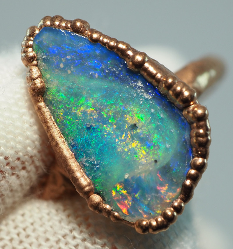 14.40CT OPAL RING WITH ELECTRIC FORM COPPER  AA443