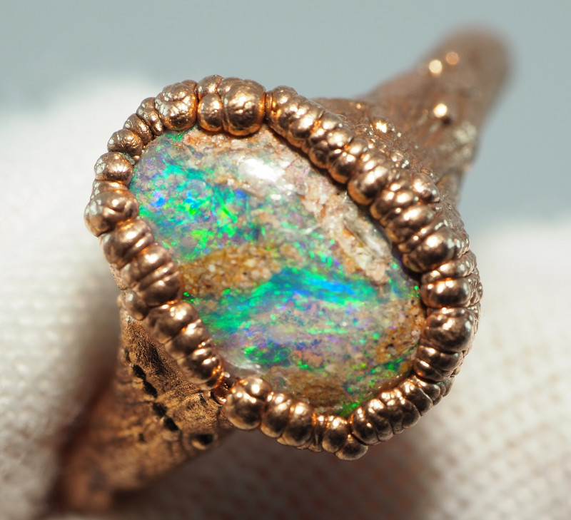 14.45CT OPAL RING WITH ELECTRIC FORM COPPER  AA447