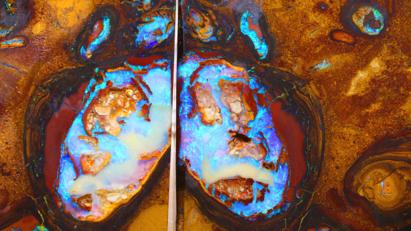 1237-CTS  YOWAH OPAL ROUGH PAIR  CONGLOMERATE DT-8695