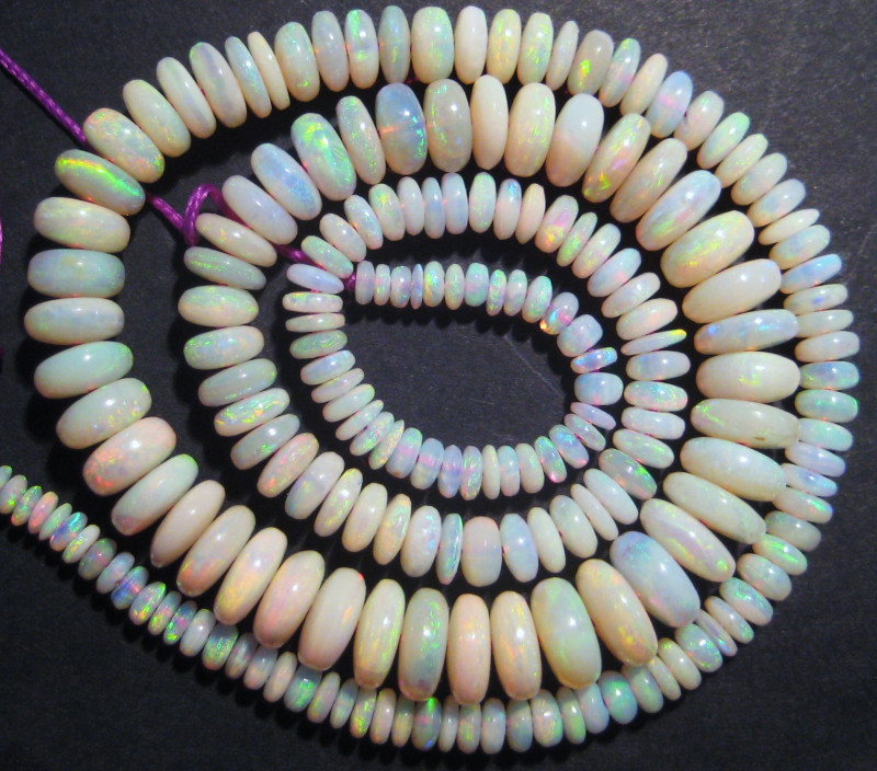 Exquisite Australian Lambina Opal Loose Bead Strand Brilliant multicolours