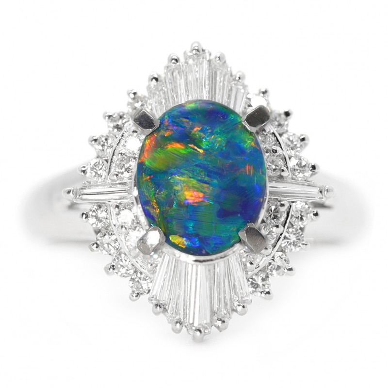 PLATINUM BLACK OPAL RING GOLD AND DIAMONDS [CR53]