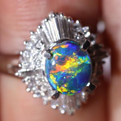 PLATINUM BLACK OPAL RING GOLD AND DIAMONDS [CR53]