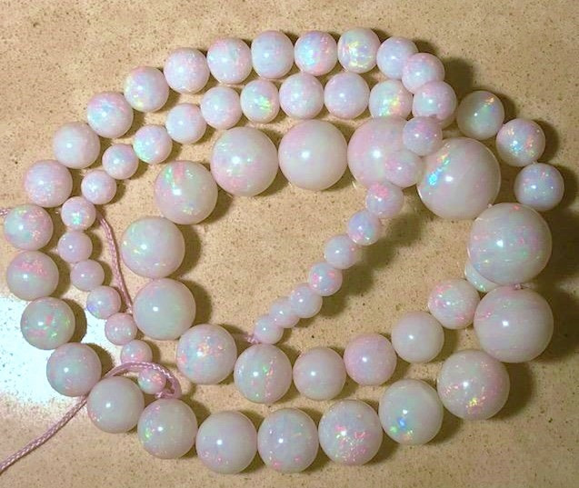 Magnificent Australian Mintabie Opal Large Bead Strand  Lots of reds