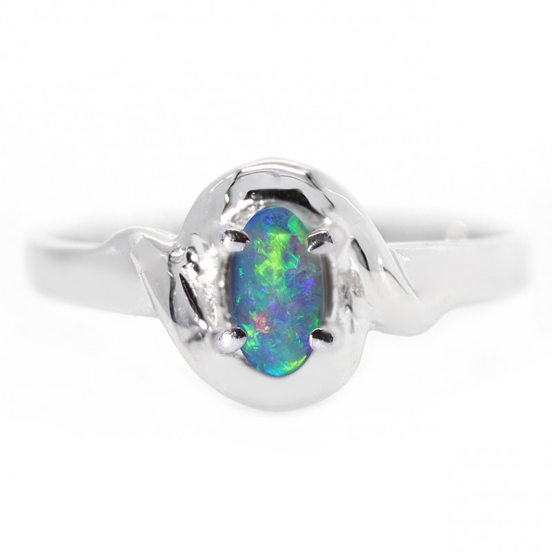18K GOLD BLACK OPAL RING GOLD AND DIAMONDS [CR59]