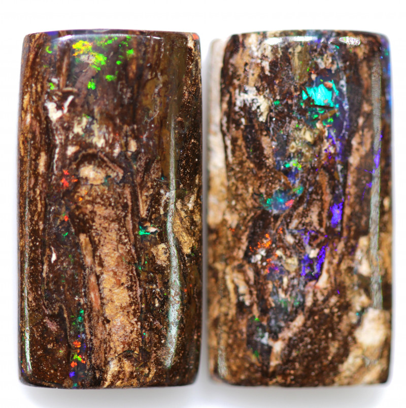 16.95 CTS PAIR BOULDER WOOD FOSSIL REPLACEMENT [BMA8512]
