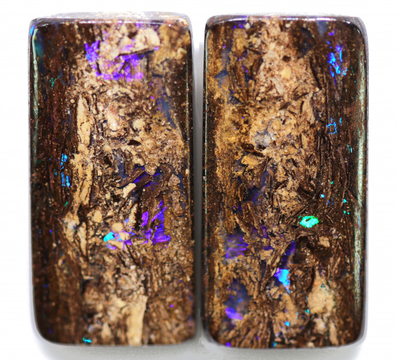 43.80 CTS PAIR BOULDER WOOD FOSSIL REPLACEMENT [BMA8514]