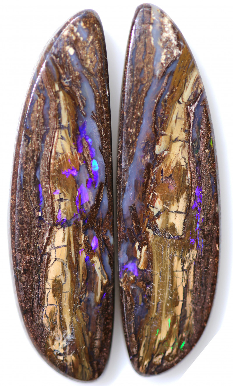 30.30 CTS PAIR BOULDER WOOD FOSSIL REPLACEMENT [BMA8515]