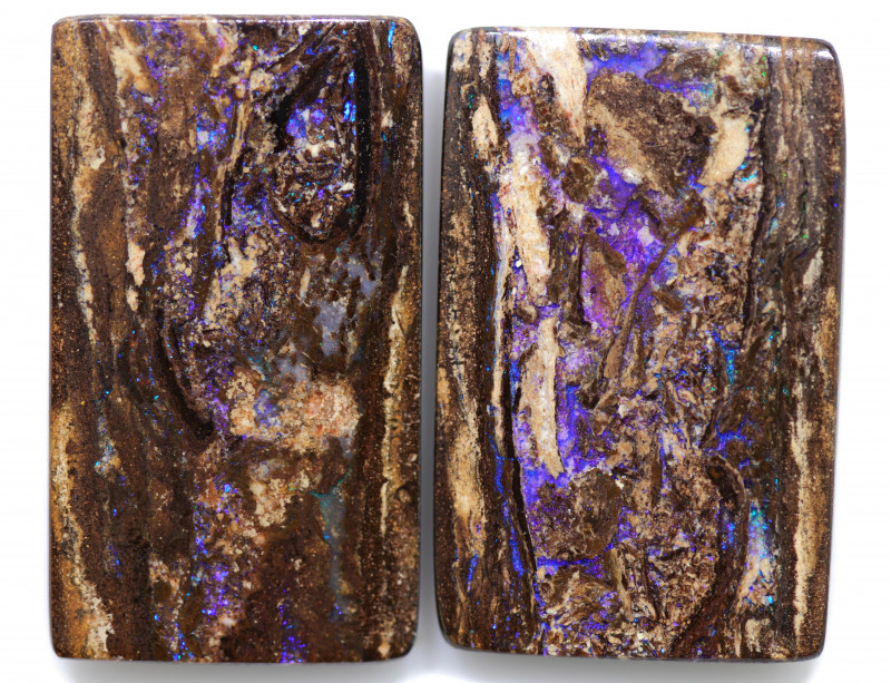 56.15 CTS PAIR BOULDER WOOD FOSSIL REPLACEMENT [BMA8518]