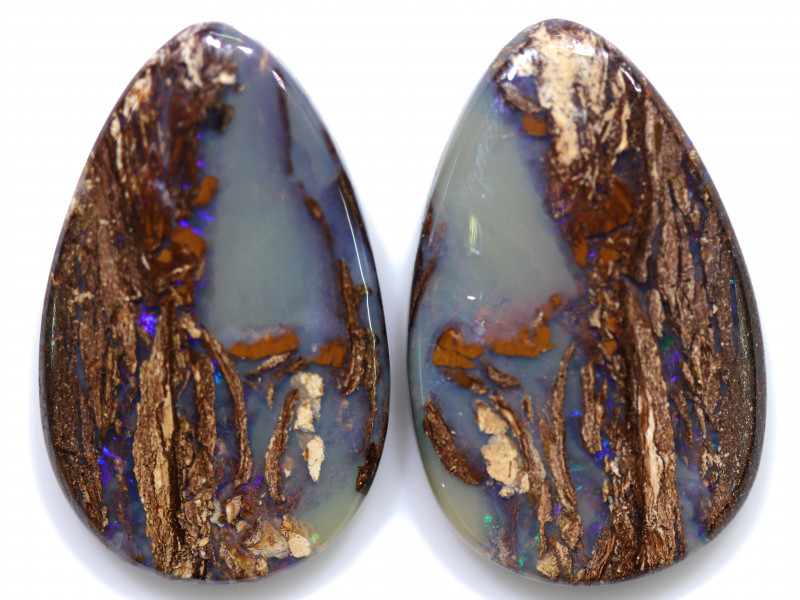 74.60 CTS PAIR BOULDER WOOD FOSSIL REPLACEMENT [BMA8519]