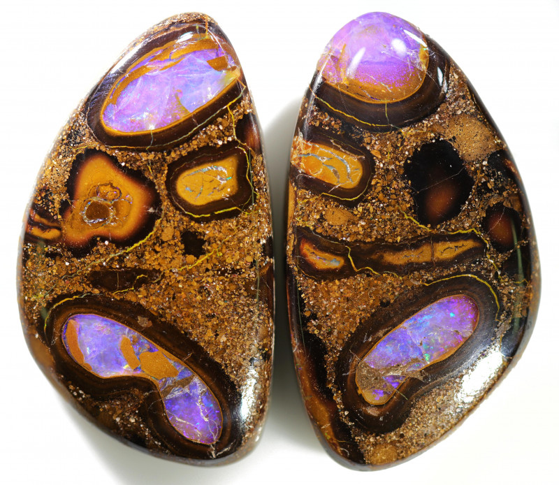106.90 CTS WELL POLISHED PAIR BOULDER STONES [BMA8550]