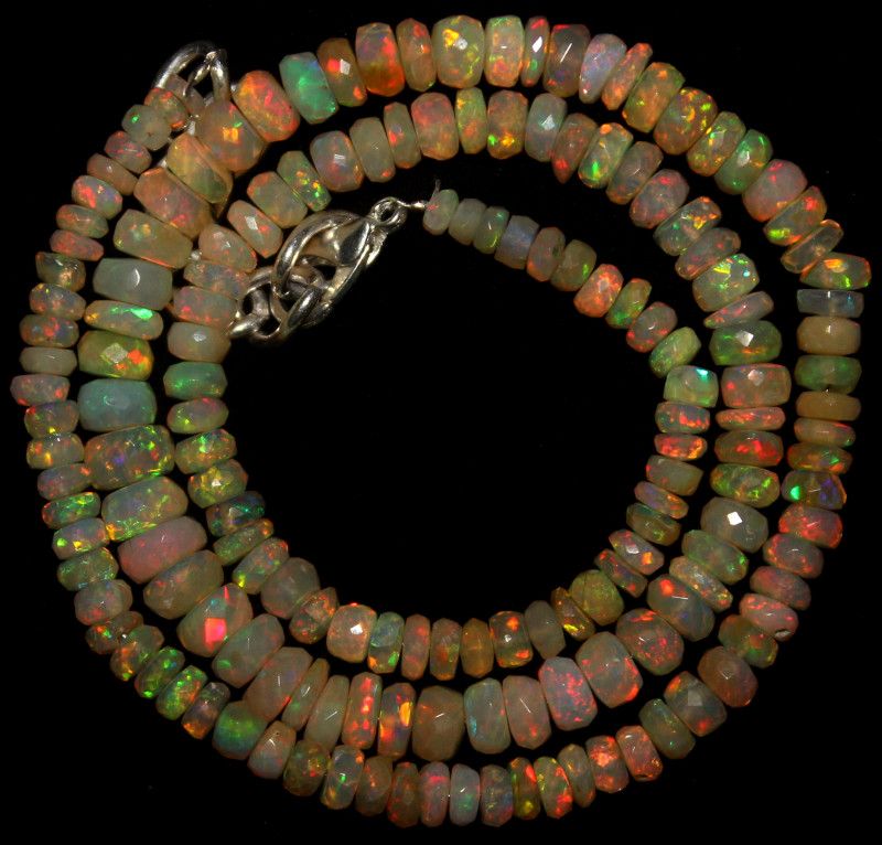 51 Crts Natural Ethiopian Welo Faceted Opal Beads Necklace 62