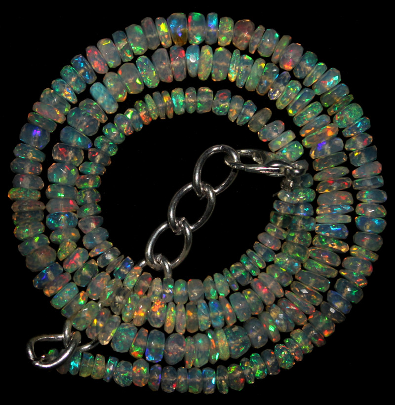 44 Crts Natural Ethiopian Welo Faceted Opal Beads Necklace 64