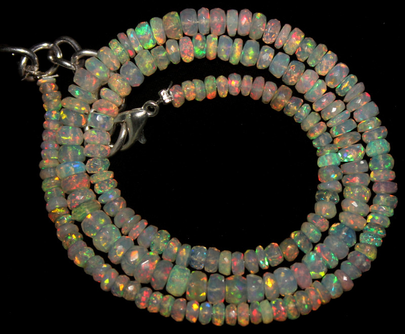 45 Crts Natural Ethiopian Welo Faceted Opal Beads Necklace 61