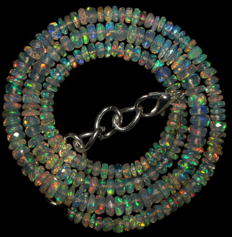39 Crts Natural Ethiopian Welo Faceted Opal Beads Necklace 69