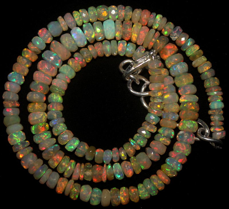 54 Crts Natural Ethiopian Welo Faceted Opal Beads Necklace 73