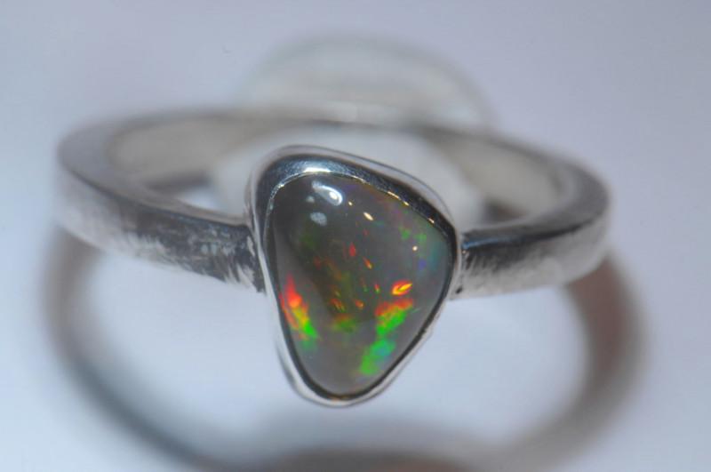 7.2sz Dark Blazing Silver .925 Sterling Welo Solid Opal Ring