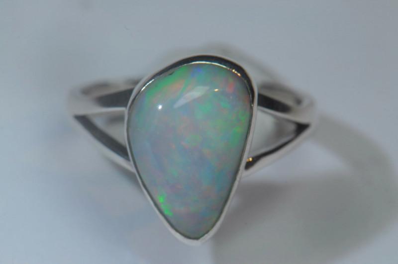 6sz Blazing Silver .925 Sterling Welo Solid Opal Ring