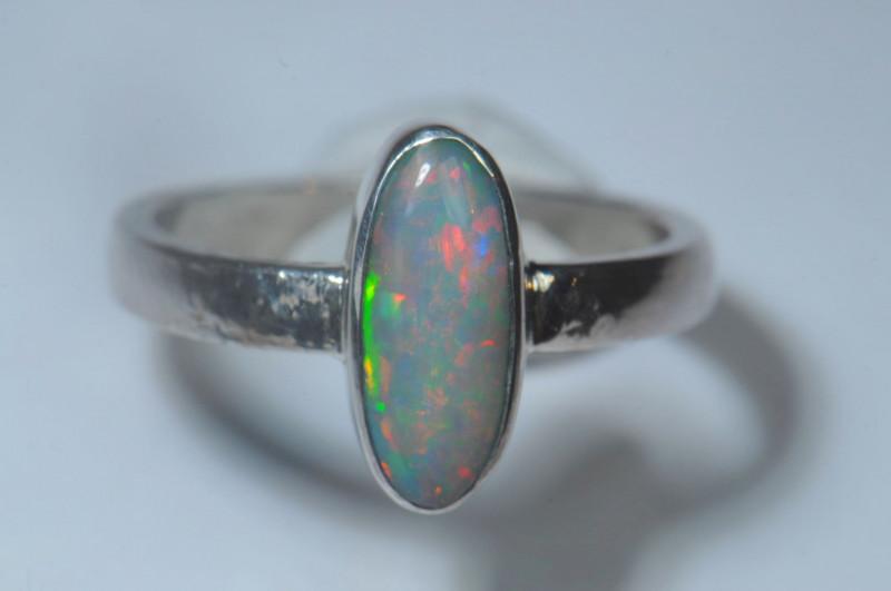 6.2sz Blazing Silver .925 Sterling Welo Solid Opal Ring