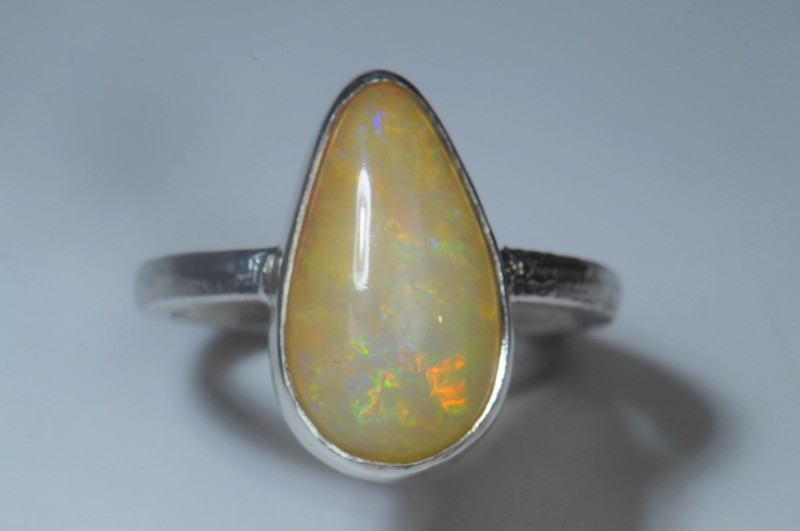 7.2sz Blazing Silver .925 Sterling Welo Solid Opal Ring