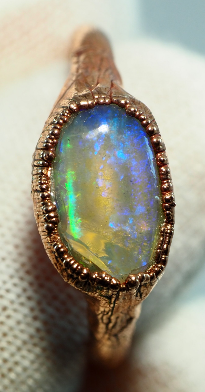 11.50CT OPAL RING WITH ELECTRIC FORM COPPER  AA461