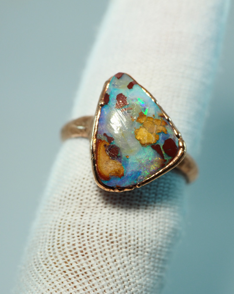 20.15CT OPAL RING WITH ELECTRIC FORM COPPER  AA469