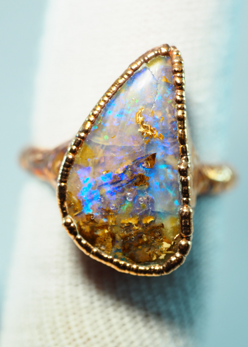 23.85CT OPAL RING WITH ELECTRIC FORM COPPER  AA470