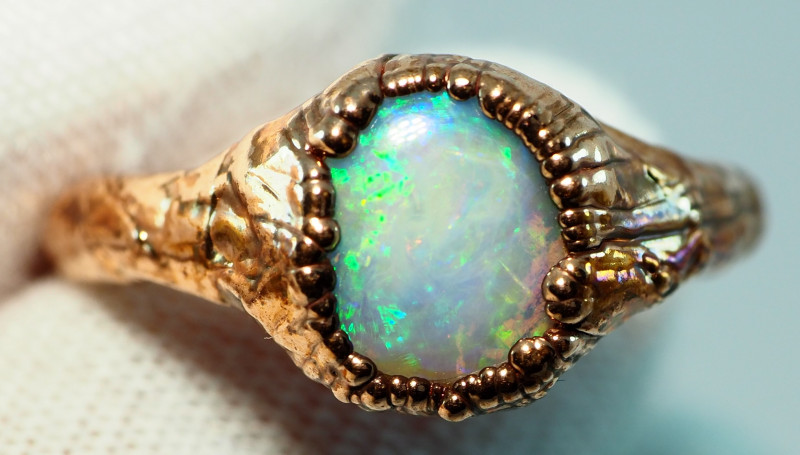 16.70CT OPAL RING WITH ELECTRIC FORM COPPER  AA473