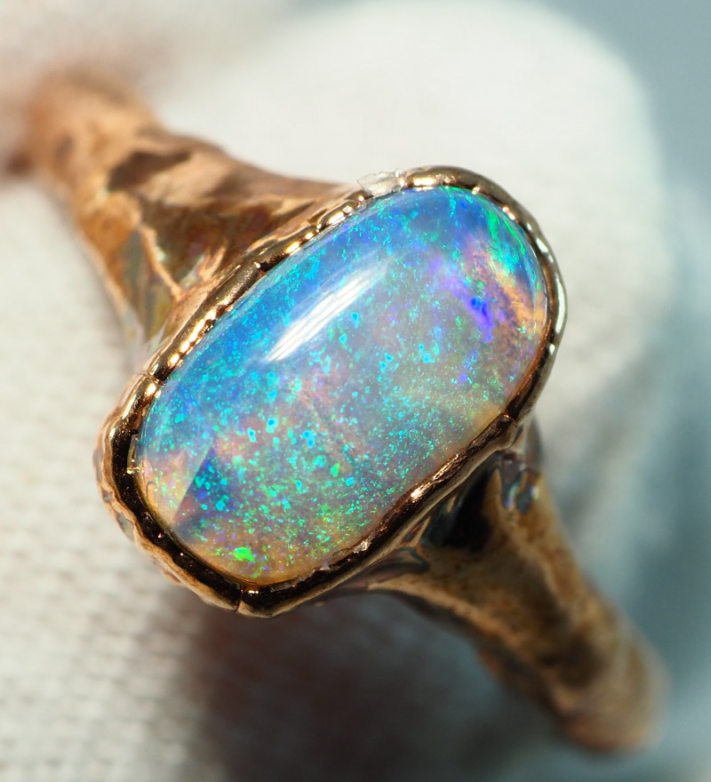 11.10CT OPAL RING WITH ELECTRIC FORM COPPER  AA479