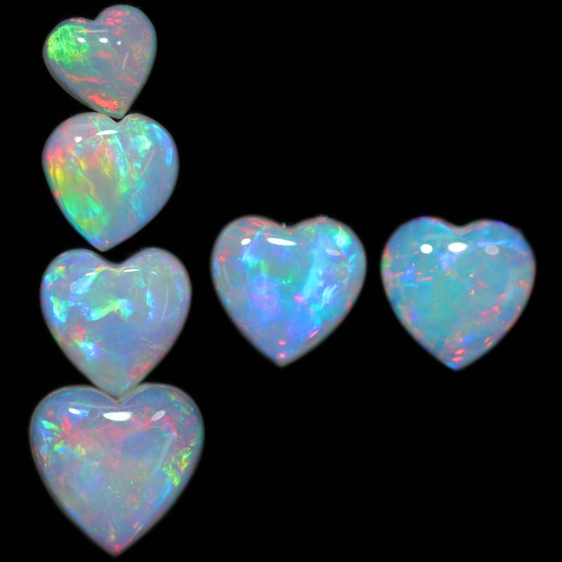 3.88 CTS HEART SHAPED NATURAL FIRE OPAL  SET 6 [SEDA2654]