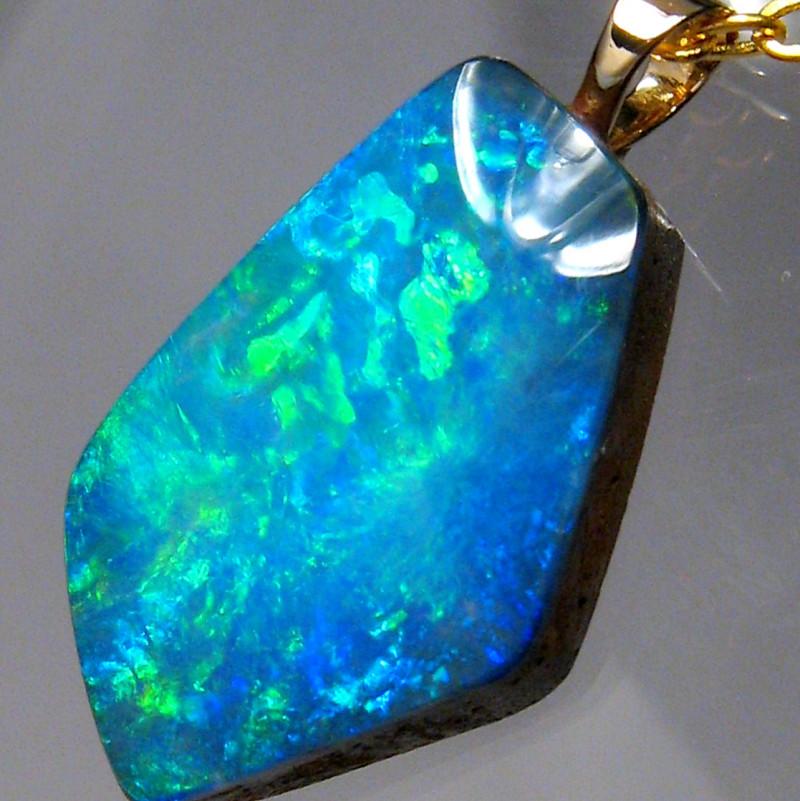 Australian Natural Opal Doublet Pendant 14k Gold 5.85 carats