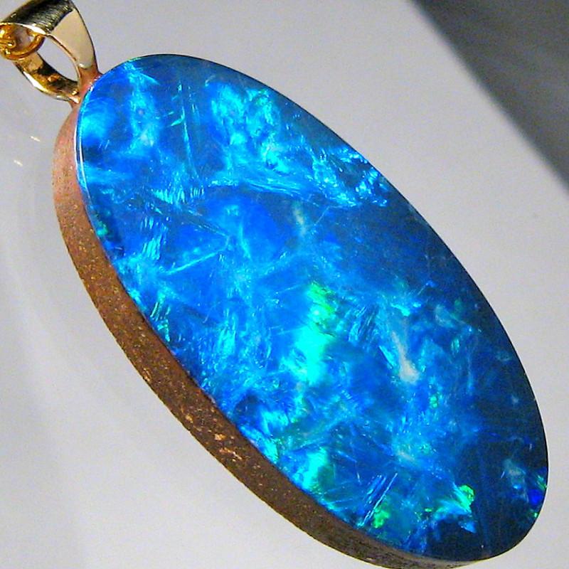 Australian Opal Doublet Pendant Large Green Blue Gem 10.05 carat