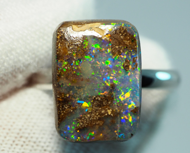 11.00CT  SILVER ADJUSTABLE BOULDER OPAL RING AA500