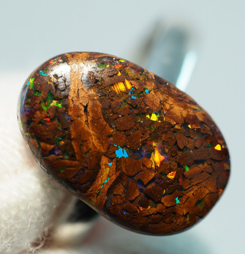 8.00CT  SILVER ADJUSTABLE MATRIX BOULDER OPAL RING AA492