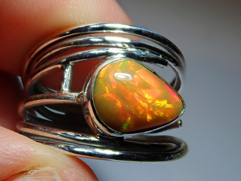 .925 Sterling Fire Sterling  Welo Solid Opal Ring