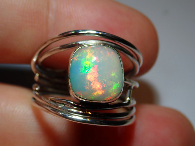 .925 Sterling Blazing Welo Solid Opal Ring
