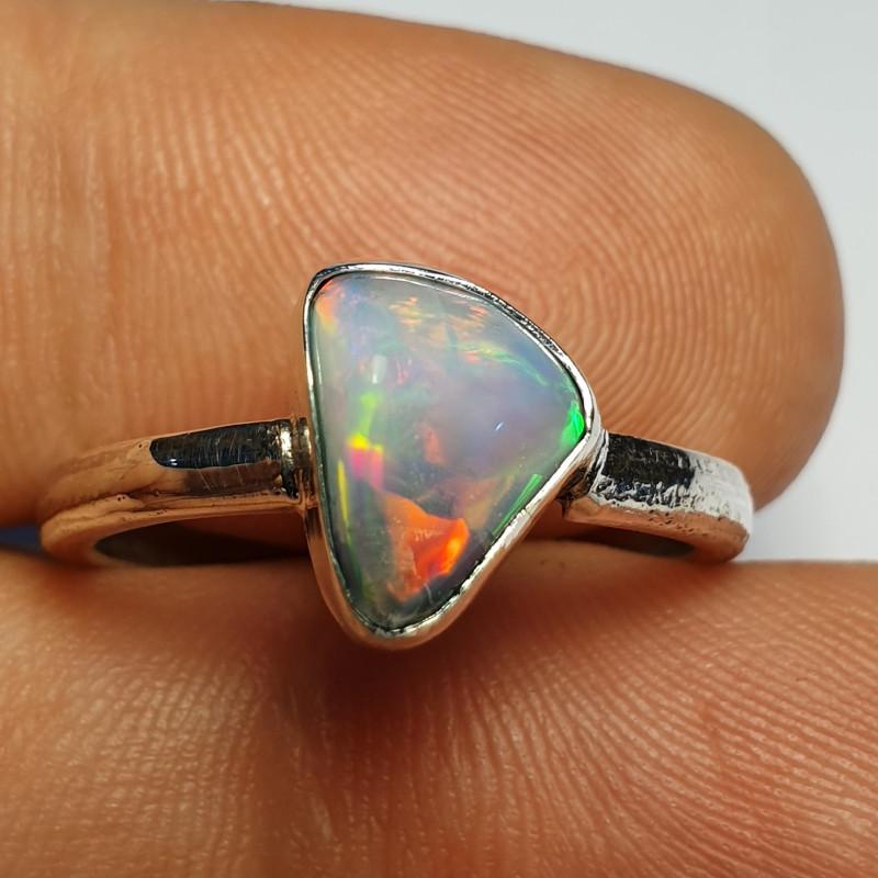 .925 Blazing Welo Solid Opal Ring