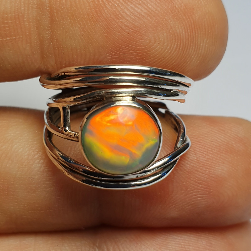 6.5sz .925 Handmade Welo Solid Opal Sterling Ring