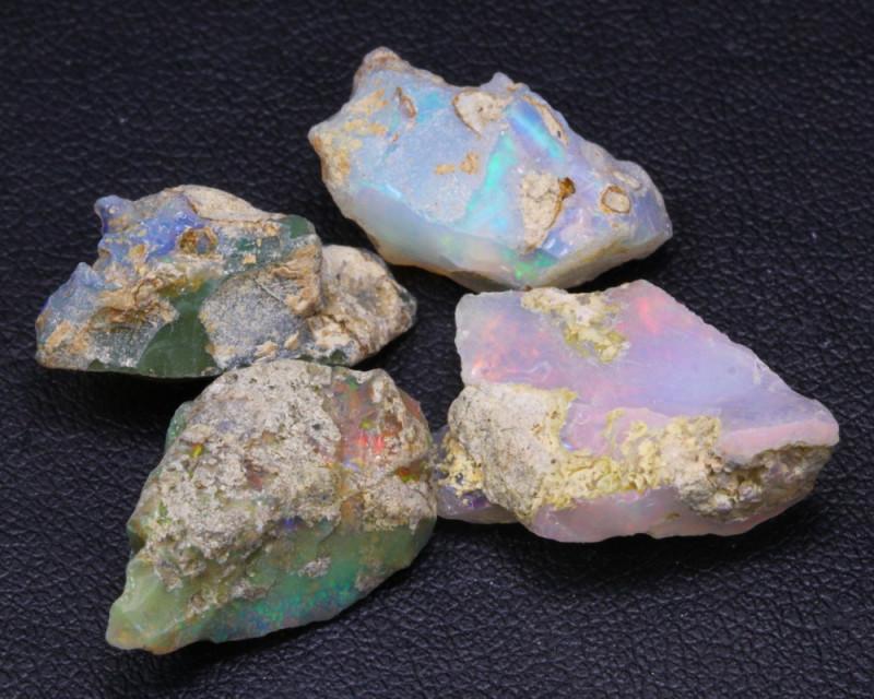 23.83Ct Multi Color Ethiopian Welo Rough Parcel Lot  F1108
