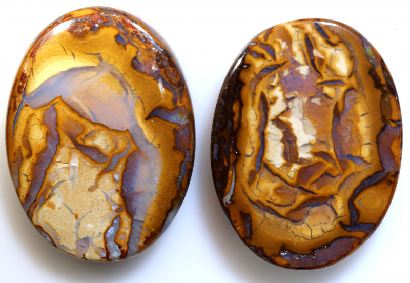 56.95 CTS BOULDER WOOD FOSSIL OPAL STONE PAIR  NC-6656