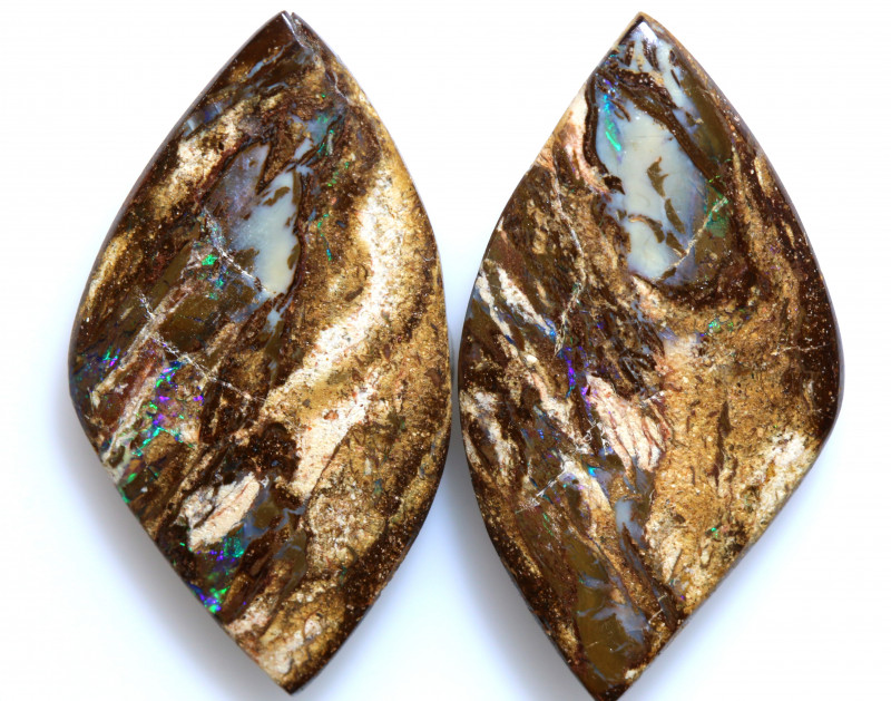 15.50 CTS BOULDER WOOD FOSSIL OPAL STONE PAIR  NC-6666