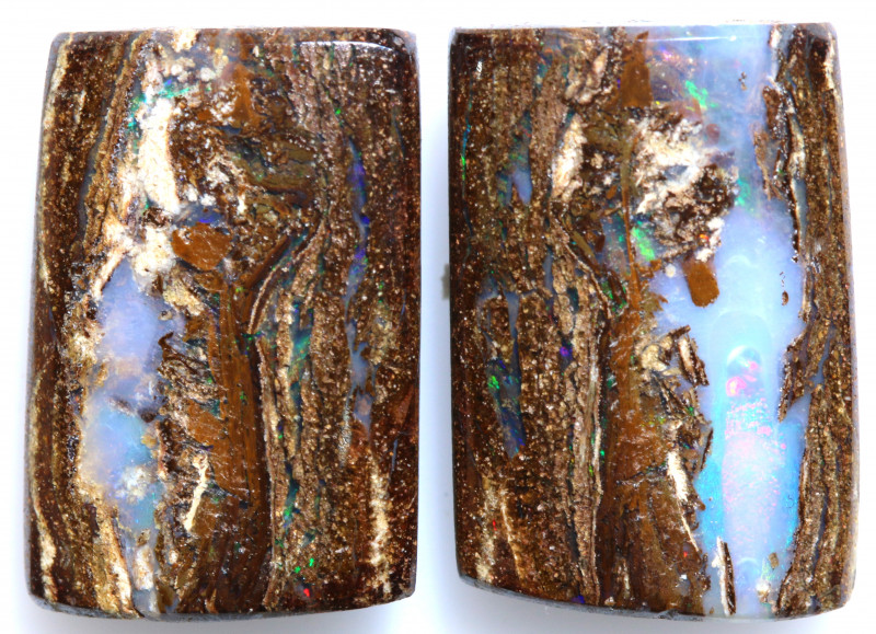 15 CTS BOULDER WOOD FOSSIL OPAL STONE PAIR  NC-6668