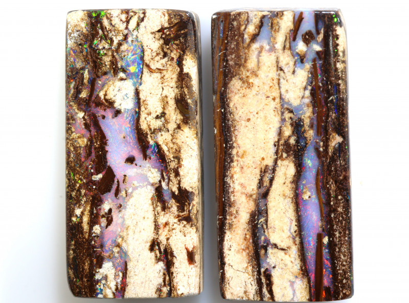 25.20 CTS BOULDER WOOD FOSSIL OPAL STONE PAIR  NC-6682