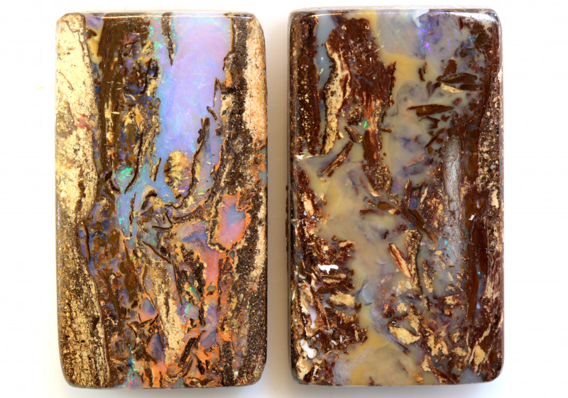 25 CTS BOULDER WOOD FOSSIL OPAL STONE PAIR  NC-6727